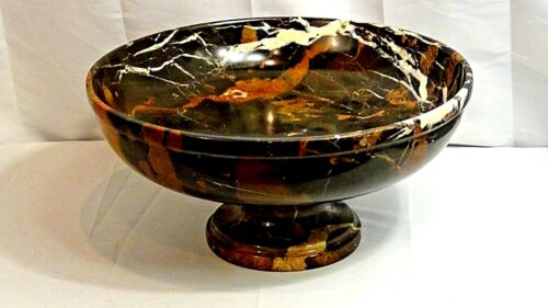 VINTAGE ITALIAN LARGE MICKELANGELO CARVED MARBLE MULTI-COLOR CENTRAL PIECE BOWL