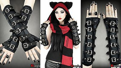 Restyle Gothic Arm Warmers Black Bucklers Punk Alternative Emo Goth Gloves](Black Arm Warmers)