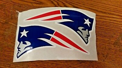 "NFL NEW ENGLAND PATRIOTS HELMET STICKERS 2 PER SHEET 6""X 3"" EACH NICE ! DECALS"