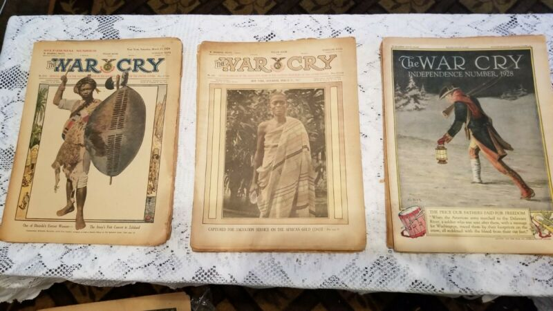 18 War Cry Magazine-Salvation Army Religious Pictures, Stories, Art Covers 1920s