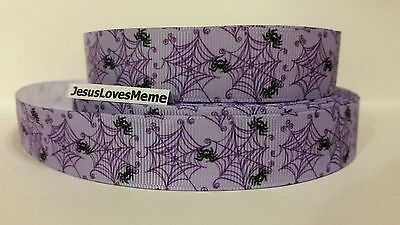 Grosgrain Ribbon, Cute Tiny Black Spiders on Purple Web, Halloween, Insects - Cute Halloween Spider Webs