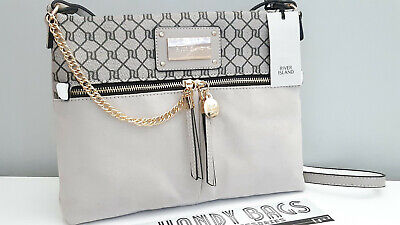 RIVER ISLAND Light Grey RI Monogram Front Pocket Cross Body Messenger Bag BNWT