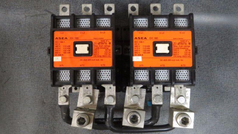 ASEA REVERSING CONTACTORS EH 160 SIZE 4.5 190 AMP 600 VAC 150 HP 110-120V COIL