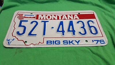 Vintage License Plate Tag Montana 52T 4436 1976 Rustic $4 Combine Ship