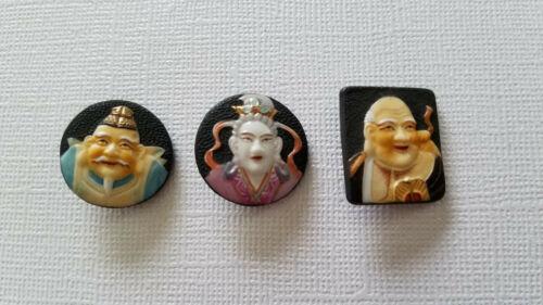 Set of 3 Japanese Toshikane Arita Fortune Gods Porcelain Buttons