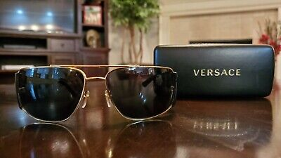 Authentic Versace VE2163 - 1002/87 Sunglasses Gold w/ Grey.  Perfect condition!