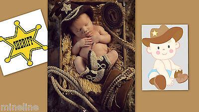 ★★★NEU Baby Fotoshooting Kostüm Kleiner Cowboy braun Set 2 Tlg. 0-6 Monate★★★Q