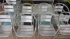 ALUMINIUM OUTDOOR CAFE CHAIRS WITH ARMS x 10  - (rrp $40 ea) Erina Gosford Area Preview