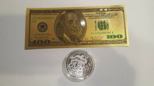 2018 Cameroon Silver Imperial Dragon 1 oz .999 silver+ Gold foil $100 bill