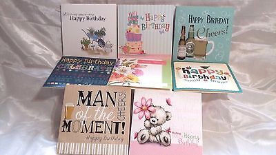 PACK OF 8 MIXED/ASSORTED LADIES AND MENS BIRTHDAY CARDS WITH ENVELOPES