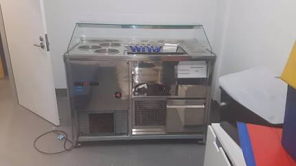 Ice cream mix-in station and display cabinet. Perfect condition