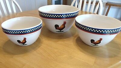 3 X International Tableworks Rooster Mixing Bowls