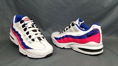 Nike Air Max 95 (GS) Athletic Sneakers White Blue Red Girls Size 4 DISPLAY (Indonesia Model Girl)
