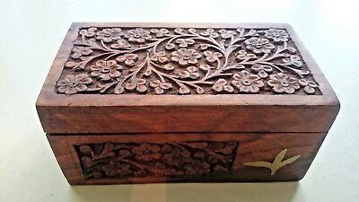 Wooden Carved Box Delikat Tea Promoters India (Original Tea Included)
