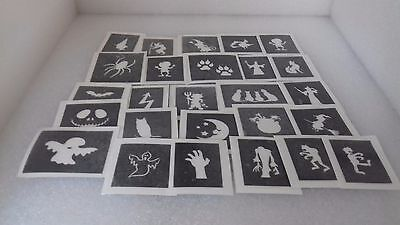 Witches Painted Faces For Halloween (25 - 400 Halloween mini stencil for glitter tattoo face painting witch ghost)