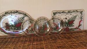 vintage glass Christmas Platters