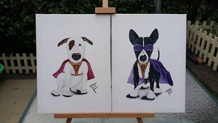 2 x Bull Terrier Acrylic Paintings (Set)