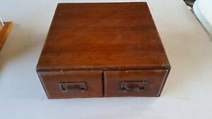 Vintage Two Drawer Cabinet Wooden Library Index Card Filing Merrylands Parramatta Area Preview