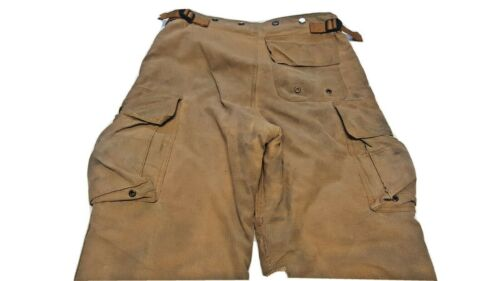 34x30 Securitex Brown Firefighter Turnout Bunker Pants Yellow Reflective P1192