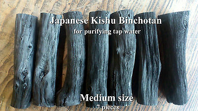 Japanese Kishu Binchotan White Charcoal for purifying tap water 7pcs medium size