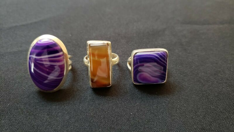 Lot of agate sterling silver rings