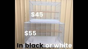 Brand NEW white or black large flight cage -76x46x46cmH -trolley extra