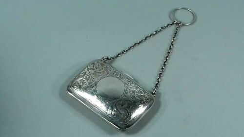 ANTIQUE STERLING SILVER CHATELAINE EVENING PURSE /  CARD CASE 1916