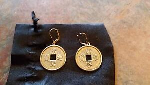 Gold and Brass I Ching earrings Stoneville Mundaring Area Preview