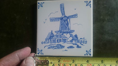 Mosa Blue Delft Windmill Ceramic Wall Tile