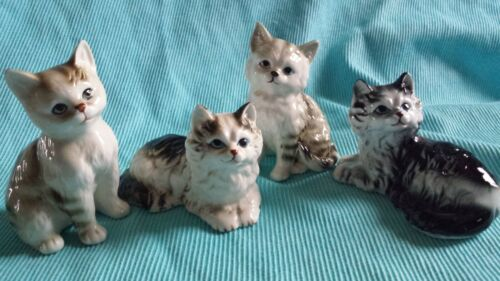 LOT OF 4 VINTAGE BONE CHINA CAT KITTEN FIGURINES Sitting & lying down * Nice!