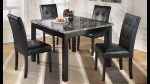 Brand New grey faux marble table and 4 chairs only $750