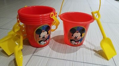 10 PCS BEACH PAIL WITH SHOVEL MICKEY MOUSE PRINT RED/YELLOW/PARTY SUPPLY](Red Beach Pail)