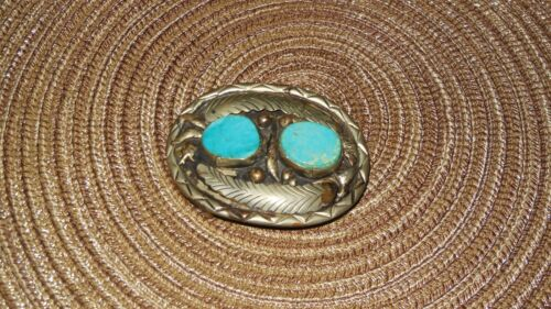 Vintage Native American Silver Turquoise Stone Inlay Belt Buckle