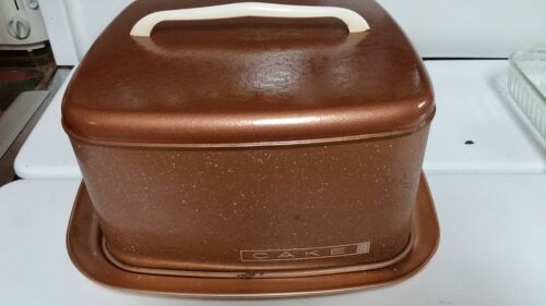 VINTAGE LINCOLN BEAUTY WARE SPECKLED COPPER SQUARE CAKE CARRIER