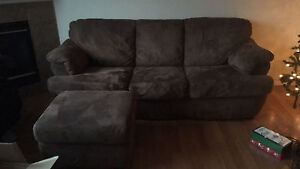 Brown Suede couch with matching ottoman