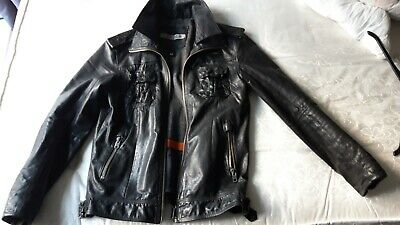 Men's Superdry Leather Jacket Medium In Black.