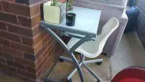 Frosted glass computer desk and swivel chair Turrella Rockdale Area Preview