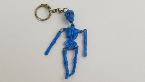 "Vintage Halloween Blue Plastic Jointed Skeleton FOB Keychain 3-1/2"" Long   H5"