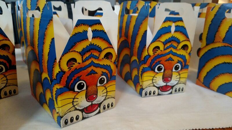 Vintage 1984 Admark Critter Cartons Tiger LOT of 13 Children Meal Fast Food Box
