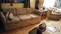 Free Pull out couch, regular couch and chair
