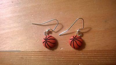 Earrings - Basketball dangling gold hook earrings.