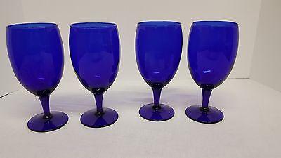 Set of 4 Cobalt Blue Tall Wine/Water Glasses