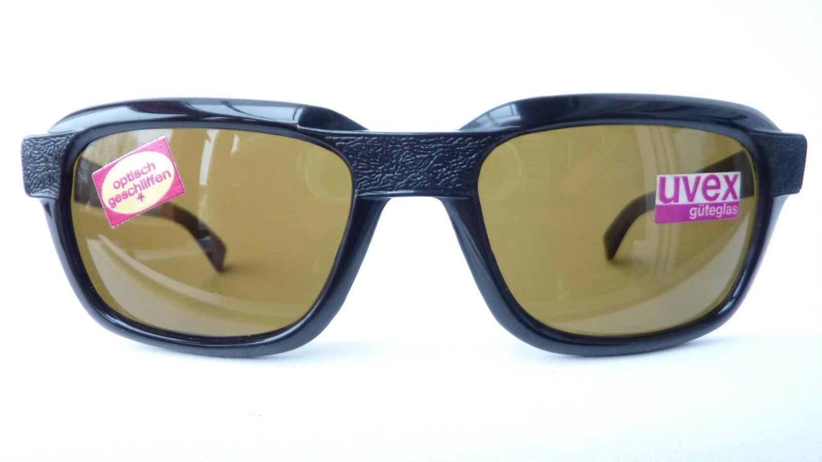 Uvex schwarze Sonnenbrille Vintage Echtglas optisch geschliffenHerren Grösse L