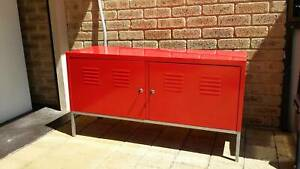 TV Cabinet Metal Red Lockable