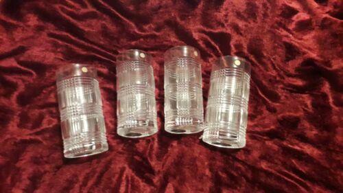 """4 Glen Plaid Highball Glasses 6 1/4"""" 14oz - Ralph Lauren Germany"""