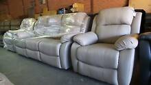 3 SEATER  RECLINER ENDS + 2 SINGLE  RECLINERS TAUPE IN LEATHER Thebarton West Torrens Area Preview