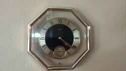Classic 1980's Howard Miller Octagon Shaped Wall Clock Gold Tone Frame Lovely