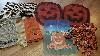 FALL HALLOWEEN PRIMITIVE AUTUMN LINEN AND DECOR LOT Garden Flag Towels Mats