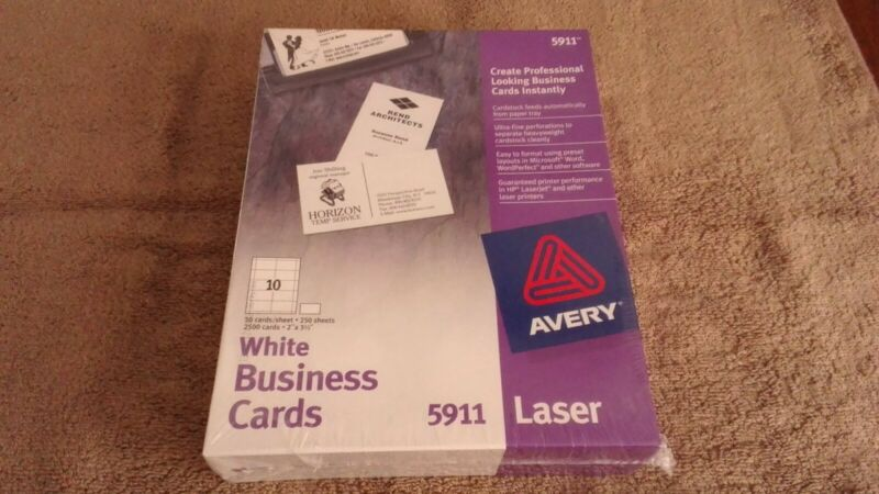 """Avery White Business Cards 5911 2"""" X 3 1/2"""" Laser 2500 cards (250 sheets)"""