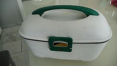 Kinder Schmuckbox, Schminkkoffer weiß Kunststoff, Einlage, Spiegel, Schlüssel